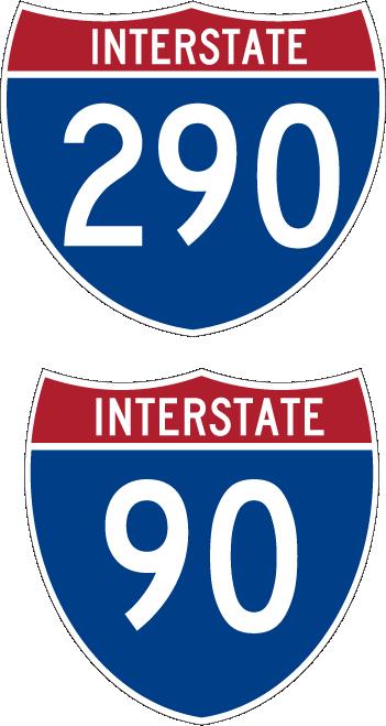 Signs For Schaumburgh I90-I290 Expressway Interchange