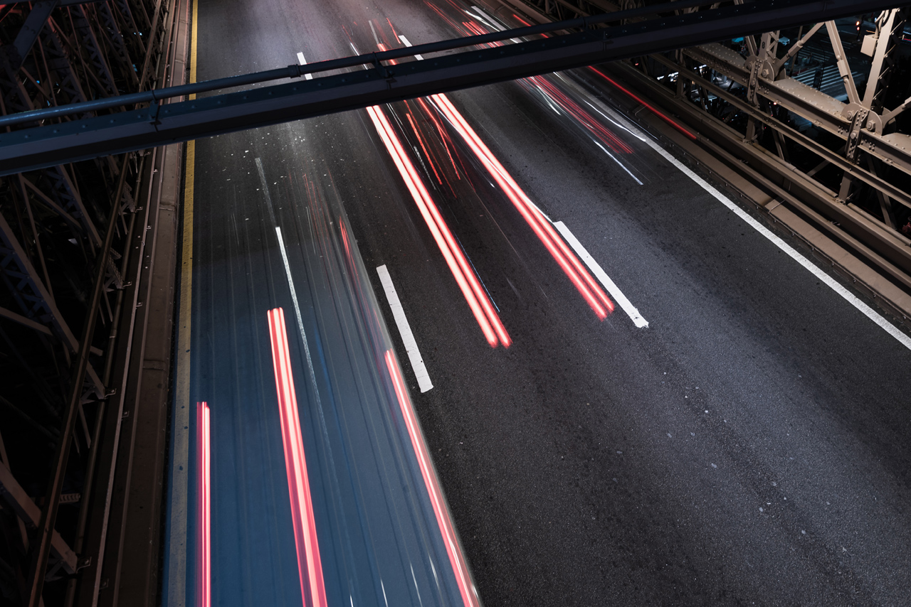 Tailights Exposure On Highway During 24 Hour Roadside Assistance In Chicagoland