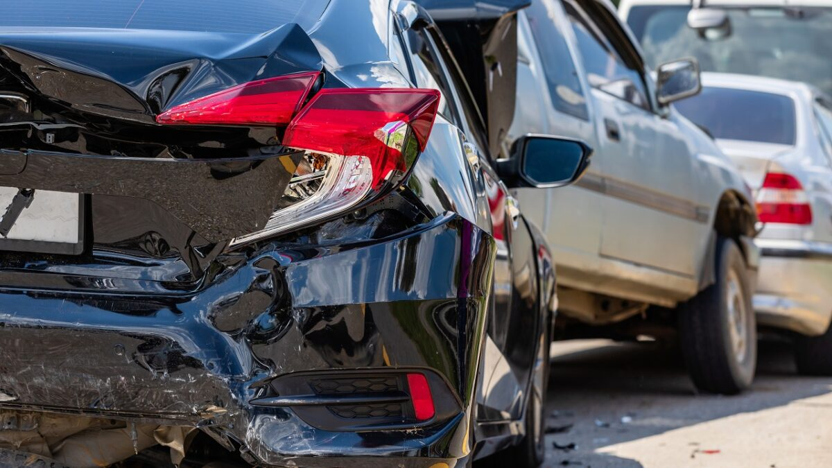 Car accident involving many cars on the road